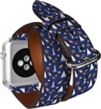 Compatible with Apple Watch (Big 42mm/44mm) Series 1,2,3,4 - Double Tour Bracelet Strap Wristband Smart Watch Band Replacement - Nautical Watercolor Lighthouse