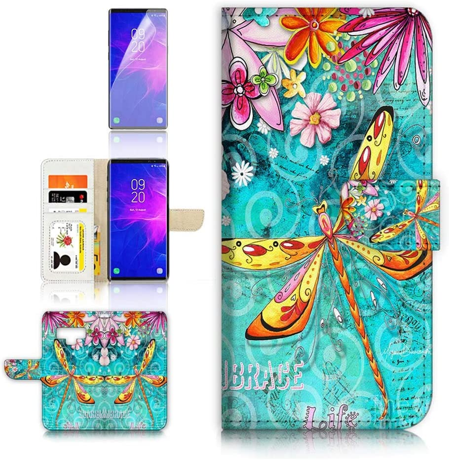 (for Samsung Note 9, Galaxy Note 9) Flip Wallet Case Cover & Screen Protector Bundle - A21095 Dragonfly