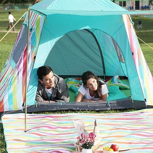 MJY Tente Tente Extérieure Tente Imperméable épaisse Libre de Construire 2-3 Personnes Tente Randonnée Tente Tente de Camping Sauvage,Bleu,210  210  140cm