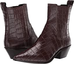 Dark Brown Croc Embossed Leather