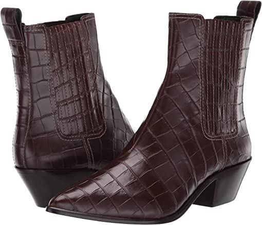 Dark Brown Croc Embossed Leather