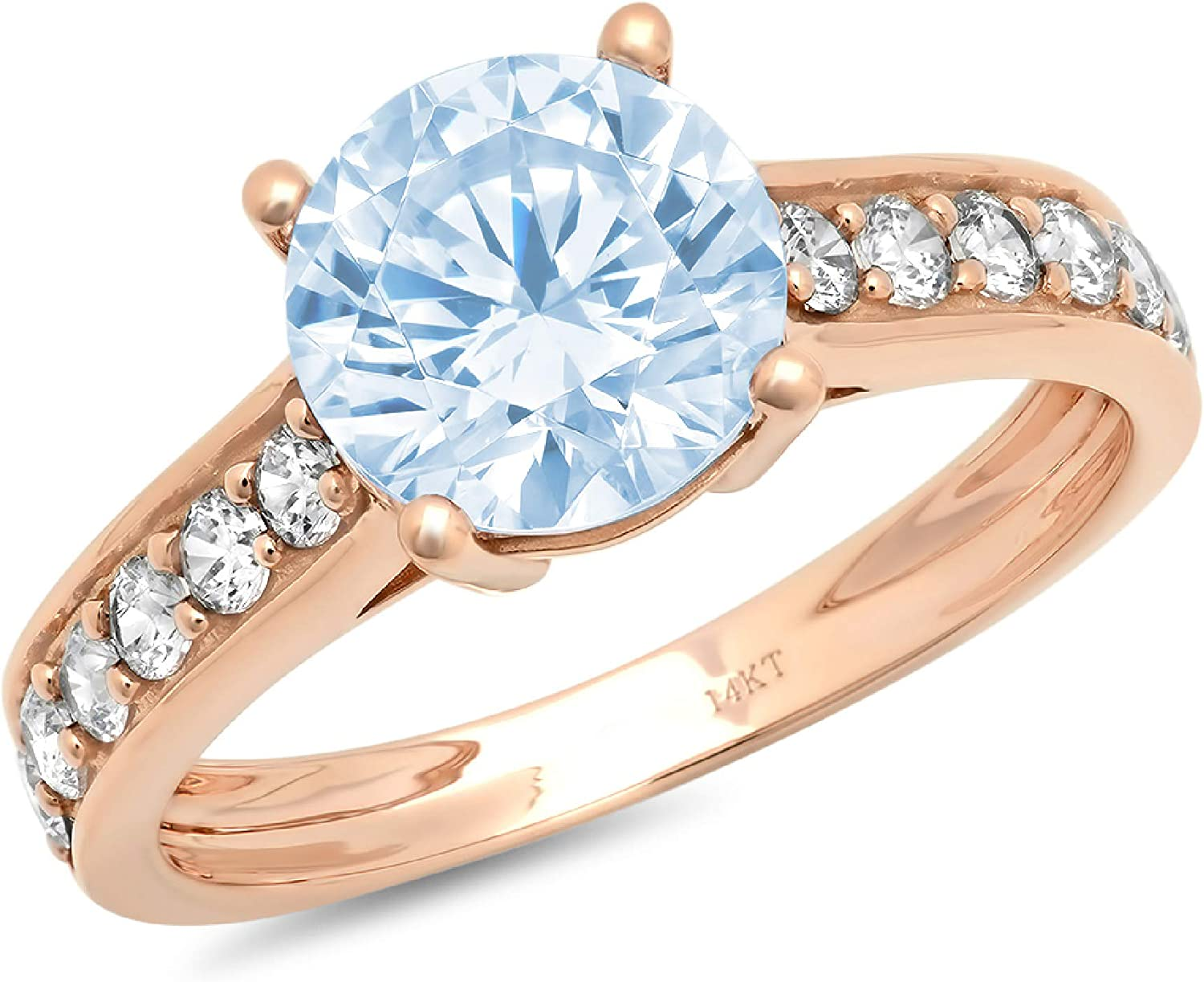 2.19ct Brilliant Round Cut Solitaire with accent Natural Sky Blue Topaz Gem Stone Ideal VVS1 Engagement Promise Statement Anniversary Bridal Wedding Accent ring 14k Pink Rose Gold