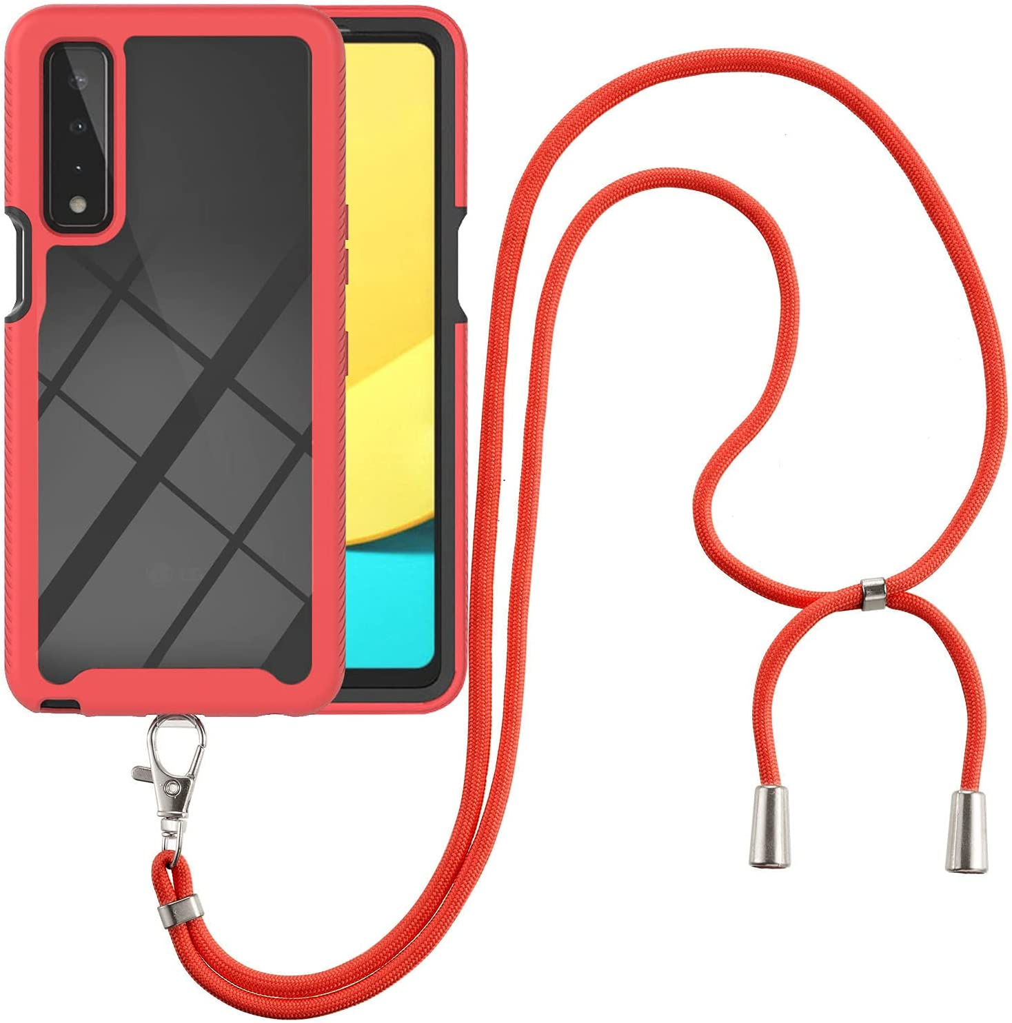 LG Stylo 7 5G Case, EabHulie Transparent Back No-Slip Bumper with Adjustable Crossbody Lanyard Strap Case, Shockproof Full Body Protection Cover for LG Stylo 7 5G Red