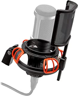 Knox Microphone Shock Mount and Detachable Pop Filter - Fits Audio Technica AT2020 Mic – Anti-Vibration, Holds Microphone Steady, Reduces Noise – for Studio Recording