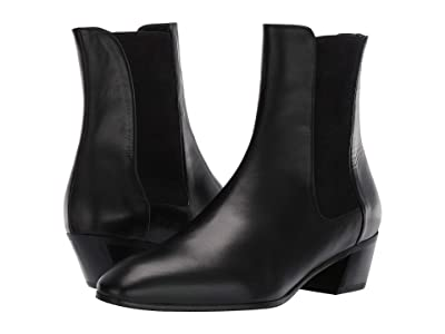 Stuart Weitzman Cleora Leather Bootie (Black Smooth Calf/Sueded Elastic) Women