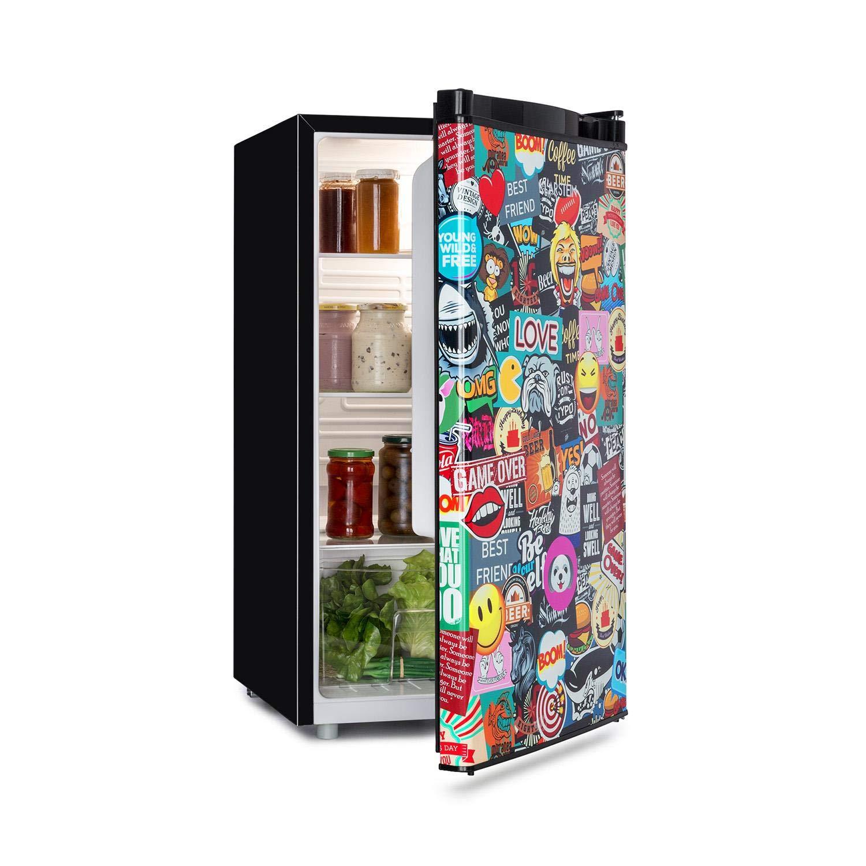 Klarstein Cool Vibe Nevera, Eficiencia energética A+, Volumen: 90 litros, VividArt Concepto: Puerta con diseño de Comic Manga, Compartimento de enfriado, Emisión de sonido: 42 Db, negra: Amazon.es: Hogar