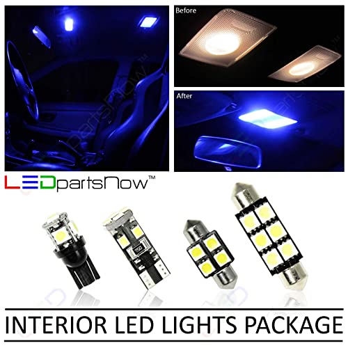 LEDpartsNow LED Interior Lights Accessories Package Replacement Kit for 2010-2015 Chevy Camaro (4 Bulbs), BLUE