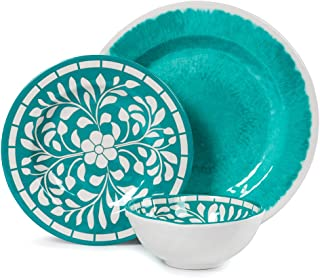 Teal Dinnerware Set - Melamine 12 Piece Dinner Dishes Set for Camping Use, Lightweight