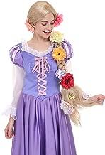 Angelaicos Womens Long Braids Blonde Costume Rapunzel Wig with 10pcs Flowers