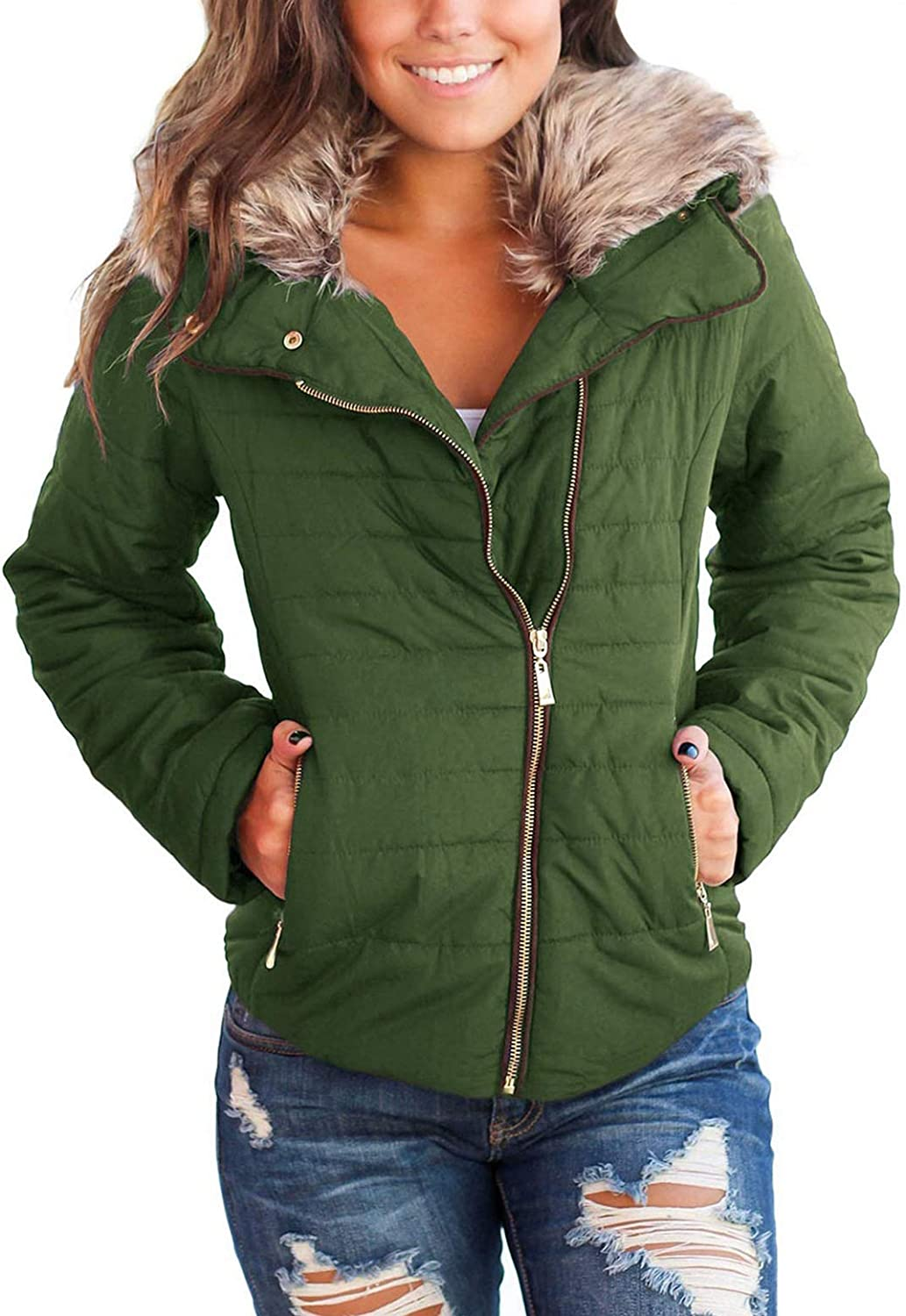 LookbookStore Women's Faux Fur Import Hooded Jacket Manufacturer direct delivery Quilted Puffer Zip