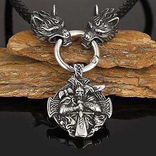 Men Viking Odin Raven Shield Totem Amulet Neckalce, Stainless Steel Round Cross Signet Pendant Necklace, Black Weave Wolf ...