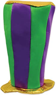 "Beistle 60025 Mardi Gras Plush Tall Top Hat, 16"", Green/Purple/Gold"