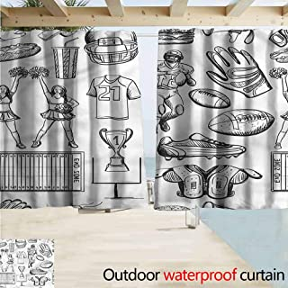 MaryMunger Doorway Curtain Football Cup Cheerleader Player Drapes for Outdoor Decor W72x45L Inches