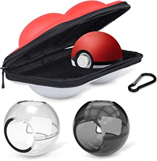 HEYSTOP (Upgraded Version) Portable Carrying Case for Nintendo Switch Poke Ball Plus Controller, Travel Bag for Pokémon Let's Go Pikachu Eevee for Switch(Carrying Case+2 Clear case)