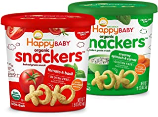 Happy Baby Organics Snackers Baked Grain Snack Veggie 1.5 Ounce, Variety Pack, 6 Count, (Pack of 6)