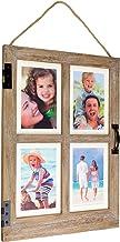 Excelo Global Products Moldura de janela vintage para casa de fazenda: Comporta quatro fotos 4x6 ou 5x7 - EGP-HD-0140, Marrom