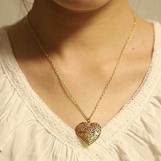 Yienate Mode Hart Ketting Openbare Holle Hart Hanger Gegraveerde Bloemen Hart Medaillon Ketting Sieraden voor Vrouwen en M...