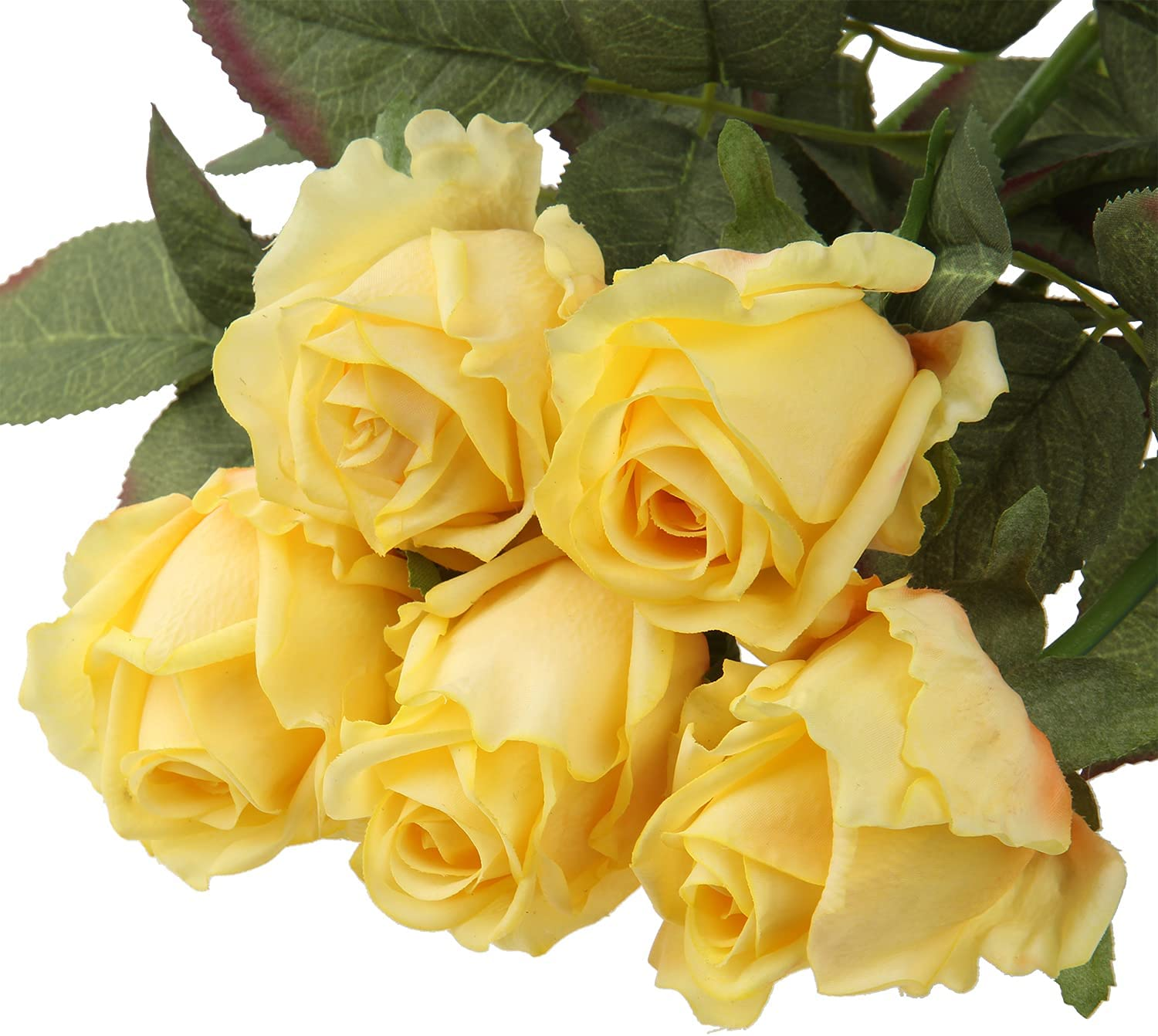 5Pcs Yellow Rose Fresh Feel Flower Faux Rose Long Stem for Home Office Parties Bridal and Wedding Decoration-Rose Bouquet Yellow Flower