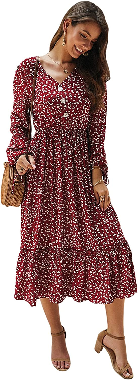 SweatyRocks Women's Boho Ditsy Floral Print Long Sleeve Ruffle Hem Midi A Line Dress