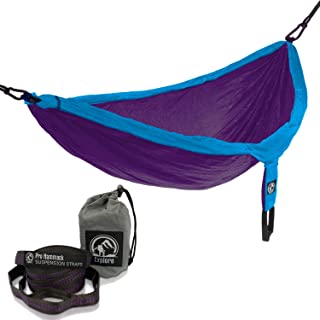 explore outfitters PRO Nylon Double Hammock - Large - With Tree Straps - Best Portable Parachute Hammock For Camping, Travel, Outdoors, Backpacking