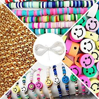 Clay Smiley Face Beads Kit ,4100 Pcs Flat Polymer Heishi Beads with 100 Pcs Alloy Spacer Beads and 15 ft Crystal Line for ...