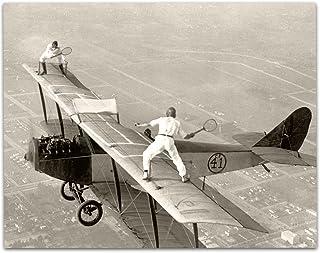 فن النجوم الوحيدة يلعب التنس على متن الطائرة طباعة عتيقة - طباعة غير مؤطرة 1 × 14 - ديكور مثالي للمطار