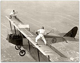 Lone Star Art Playing Tennis on Biplane Wing Vintage Print - 11x14 Unframed Print - Perfect Airport Lounge Decor