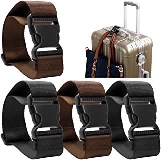 4 Pack Add a Bag Luggage Strap, AFUNTA Adjustable Travel Suitcase Belt Attachment Accessories for Connect Your Three Lugga...