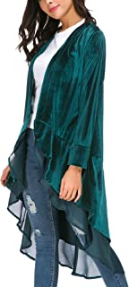 Women's Long Coat Velvet Open Front Cardigan with Asymmetric Chiffon Hem
