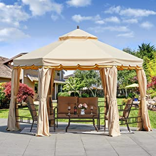 Erommy 12FT Outdoor Canopy Gazebo Hexagonal Double Roof Patio Gazebo Steel Frame Pavilion with Netting and Shade Curtains ...