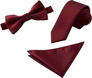 Mens Skinny Necktie Bowtie and Pocket Square 3pcs Set