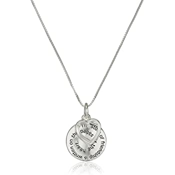 "Sterling Silver ""The Story of Friendship"" Disc and Heart Pendant Necklace, 18"""