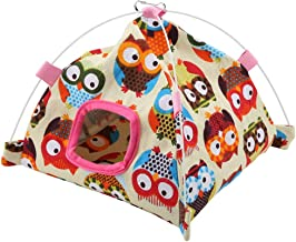 FTVOGUE Bird Nest House Bed 7 Color Cartoon Parrot Tent + Coral Mat Hut Cage Snuggle Bed Mat for Parrot Birds