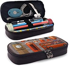 Pgonesex England London UK Set of Colored Icons Leather Cute Pencil Case - High Capacity Pencil Pouch Stationery Organizer Multifunction Cosmetic Makeup Bag, Perfect Holder for Pencils and Pens