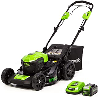 Greenworks LMF403 21-Inch 40V Cordless Brushless Self-Propelled Lawn Mower, 5.0Ah USB Battery & Charger Included