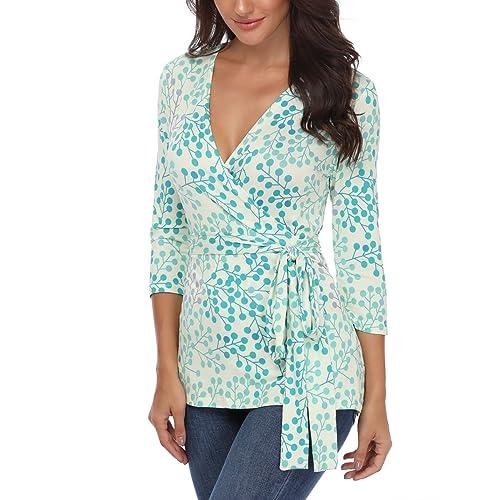 1bc151fa8c6886 MISS MOLY Unique Deep V Neck Wrap Tops for Women Half Sleeve Geometric  Print Blouse Shirt
