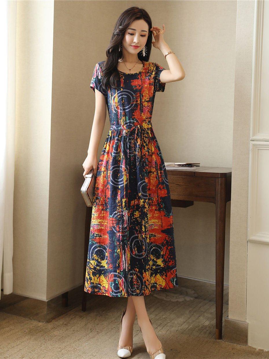 Fanru 梵如 女式 夏装新款韩版修身印花棉麻连衣裙女短袖中长款淑女气质学院风裙子 F518-601C