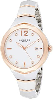 Akribos Xxiv Casual Watch Analog Display For Women, Stainless Steel Strap