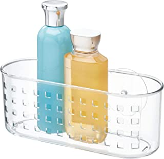 iDesign Plastic Suction Bathroom Shower Caddy Basket for Shampoo, Conditioner, Soap, Creams, Towels, Razors, Loofahs, Clear