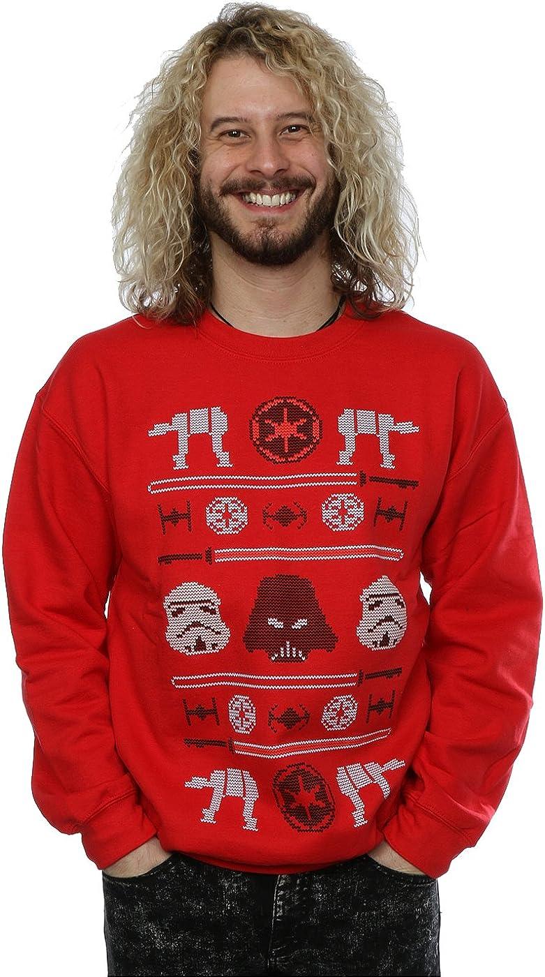Star Wars Men's Christmas Imperial Fair Isle Sweatshirt Medium Red