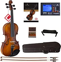 Cecilio CVN-320L Solidwood Ebony Fitted Left-Handed Violin with D'Addario Prelude Strings, Size 1/2
