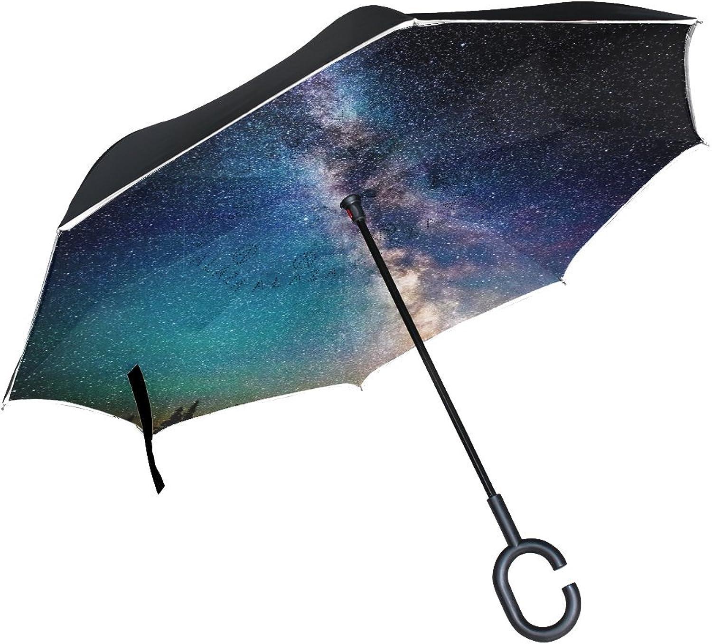 Views Natural Landscape Galaxy Moon Spectacular Panoramic Scenic Nature Landscape Ingreened Umbrella Large Double Layer Outdoor Rain Sun Car Reversible Umbrella