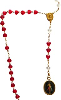 Divine Mercy Rosary Señor De La Misericordia with Red Heart-Shaped Beads