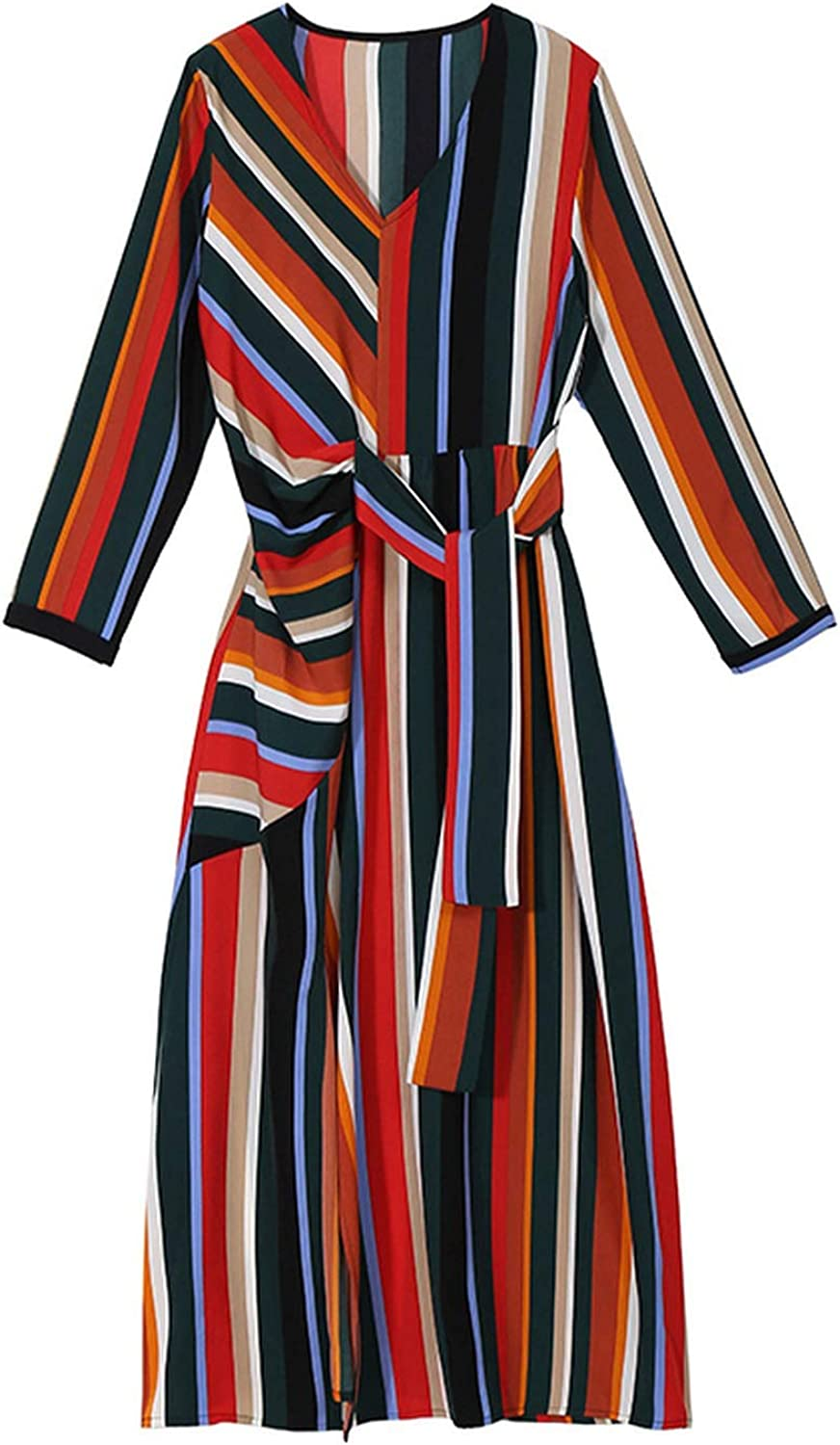 AllAboutUs 2019 Women Spring colorful Printed Striped Long Dress with Sashes Long Sleeve V Neck