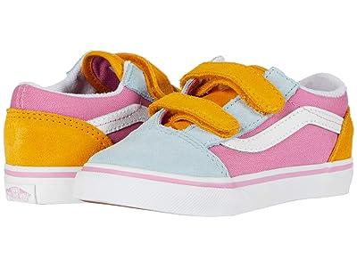 Vans Kids Old Skool V (Infant/Toddler) ((Color Block) Fuchsia Pink/True White) Girls Shoes