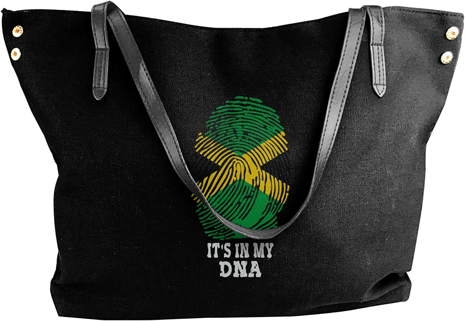 It's My DNA Jamaican Flag Women'S Casual Canvas Shoulder Bag For Travel Handbag