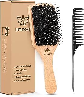 Cepillo de pelo de cerdas de jabalí para cabello grueso y rizado fino, largo, corto, húmedo o seco, añade brillo y hace que el cabello sea suave, el mejor cepillo de pelo de paleta para hombres, mujeres y niños