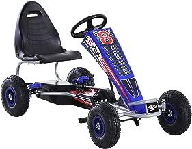 Aosom Metal Pedal Powered Car, Go Kart Racer, Ride On Toys for Boys & Girls with Adjustable Seat & Sharp Handling - Blue