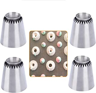 Russian Piping Tips Baking Kits Piping Nozzles Sultan Ring Cookies Mold Kits Cake Decorating Supplies for Kitchen Gift (4 pack)