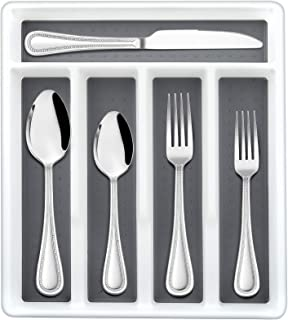 40-Piece Silverware Set with Drawer Organizer, HaWare Stainless Steel Flatware Service for 4, Modern Tableware Cutlery wit...